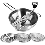 Navaris Stainless Steel Food Mill - Rotary Food Mill Vegetable Strainer Potato Masher Grinder with 3 Milling Discs, 1 Quart C