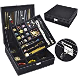 Jewelry Box for Women, QBeel 2 Layer 36 Compartments Necklace Jewelry Organizer with Lock Jewelry Holder for Earrings Bracele