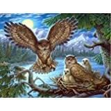 5D DIY Diamond Painting Owl Family Full Drill for Kids Adults by Number Kits, Craft Decor by Leyzan, Paint with Diamonds Embr