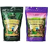 Lafebers Nutri-Berries Parrot Food 2 Flavor Variety Sampler Bundle: (1) Papaya/Pineapple/Mango, and (1) Cranberries/Apricots/
