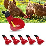 T Tersely 6 Pack Farm & Ranch Automatic Chicken/Poultry Drinkers/Waterers with Cups Watering Cups Bowls Red Plastic Backyards