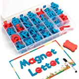 Coogam Magnetic Letters 208 Pcs with Magnetic Board and Storage Box - Uppercase Lowercase Foam Alphabet ABC Magnets for Fridg