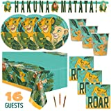 The Lion King Theme Birthday Party Supplies Set Serves 16 - Tablecover, Banner Decoration, Plates, Napkins, Cups and Candles