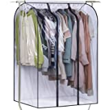 SLEEPING LAMB 50'' Extra Large Clear Hanging Garment Bags for Closet Storage Bottom Enclosed Garment Rack Cover Sealed Wardro