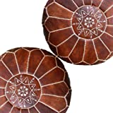 Set of 2 Amazing Moroccan Pouf Dark Brown Color,Ottomans Poffes,Footstool poufs,100% Handmade Leather Poof Home Gifts, Weddin