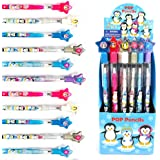 TINYMILLS 24 Pcs Penguins Multi Point Stackable Push Pencil Assortment with Eraser for Winter Themed Party Favor Ice Skating