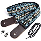 CLOUDMUSIC Hawaiian Blue Ukulele Strap With Ukulele Strap Buttons Black Leather Ends