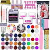 Warm Girl Full 42 Acrylic Powder 120ml Liquid Nail Form Glitter File Glue Brush Rhinestone Clipper French Tips Nail Art Set S
