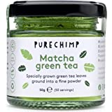Matcha Green Tea Powder 50g(1.75oz) by PureChimp | Ceremonial Grade from Japan | Pesticide-Free | Recyclable Glass Jars & Alu