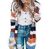 KIRUNDO Women's Open Front Long Cardigan Strip Color Block Long Sleeves Lightweight Knit Fall Outwear Sweater Coats