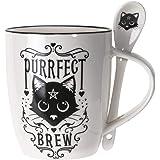 Summit Collection Alchemy Gothic Purrfect Brew Black Cats 13 fl oz Mug and Spoon Set Bone China