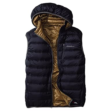 EB900 Fill Power Plus Reversible Down Hooded Vest 019240: Midnight Navy / Aged Brass