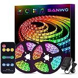 Sanwo Led Strip Lights Music Sync, 32.8ft/10m Dream Color LED Light Built-in IC, RGB 300Leds SMD5050 Flexible Strip Lighting
