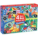 Mudpuppy Kindness 4-in-a-Box Puzzle Set – Includes 4 Progressive Jigsaw Puzzles for Kids with 4-12 Pieces – Features Colorful