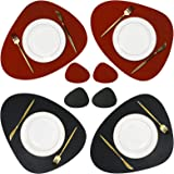 Olrla PU Leather Placemat and Coaster Set of 4, Dual-Sided 4 Placemats and 4 Coasters for Dinner Party Home Gathering (Black/