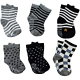 6 Pairs Assorted Anti Slip Ankle Cotton Socks with Grip Baby Toddler Non-skid Cotton Stretch Knit Stripes Star Non Slip Socks