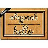 Msimplism.D Funny Doormat for Indoor Outdoor - Hello Goodbye Funny Front Doormat Entrance Floor Mat Non Slip Mats Indoor Outd