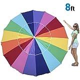 ビーチ Umbrella includes Sand Anchor and Carry Bag - 8 Foot Giant Rainbow Color - This Big Umbrella is Great for Shade at the ビー