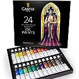 Castle Art Supplies Oil Paint Set for Artists or Beginners - 24 Vivid Oil Colours - Professional Painting Kit