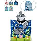 LeweLove Kids Hooded Beach Bath Towel Absorbent Washcloth Cotton Cloak Pool Toddler Towel Boy Girl (Ocean Shark)