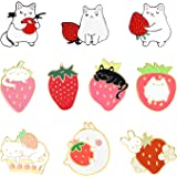 Sweet Strawberry Enamel Pins Set Cartoon Fruit Rabbit Cat Lapel Pins for Women Girl Cute Brooches Pin Badges for Clothing Bac