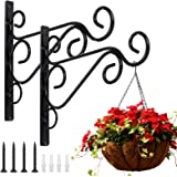 KABB Pack of 2 Black Iron Plant Hanging Hooks Wall Brackets for Planter Bird Feeder Lanterns Wind Chimes with Screws