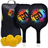 GEAR DISTRICT Professional Premium Pickleball Paddle Set, 2 Premium Graphite Carbon Fiber Honeycomb Core + 4 Balls (Indoors/O