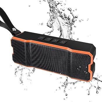 ポータブル Bluetoothスピーカー高音質ワイヤレススピーカーIPX7防水&防塵認証20時間連続再生内蔵マイクBluetooth4.1アウトドアやお風呂iphone / Android / タブレット など (オレンジ&ブラック)