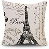 Decor MI Black and Beige Love Paris Pattern Cotton Square Throw Pillow Case Decorative Durable Cushion Slipcover Home Decor S