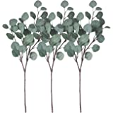 ZHIIHA 3 pcs Artificial Eucalyptus Garland Long Silver Dollar Leaves Foliage Plants Greenery Fake Plastic Branches Greens