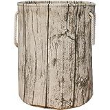 Jacone Stylish Tree Stump Shape Design Storage Basket Cotton Fabric Washable Cylindric Laundry Hamper with Rope Handles, Deco