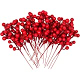 Artiflr Red Berries, 14 Pcs Artificial Red Berry Stems for Christmas Tree Decorations, Crafts, Holiday and Home Decor