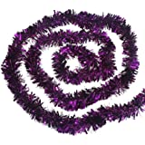 CCINEE Christmas Tinsel Garland, Classic Thick Shiny Sparkly Christmas Tree Ornaments Party Ceiling Hanging Decorations Dark