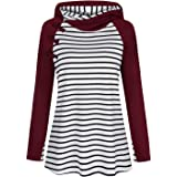 Cyanstyle Womens Striped Spliced Hoodie Double Hooded Sweatshirts Tunic Tops