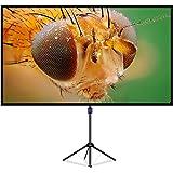 LiBatterスクリーン ガラス繊維材料を採用 プロジェクタースクリーン 4K解像度 改良新版 三脚式&壁掛け式 屋内屋外兼用スクリーン80インチ 16:9 視野角160°スクリーン 防しわ加工 お手入れ簡単「80インチ」