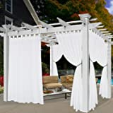 BONZER Waterproof Indoor/Outdoor Curtains for Patio - Privacy Tab Top Curtains for Bedroom, Living Room, Porch, Pergola, Caba