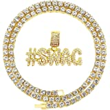 HH Bling Empire Hip Hop Iced Out Gold Faux Diamond Bubble Dripping Full Name Letters Tennis Chain 22 Inch