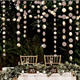 Decor365 Glitter Champagne Gold Decorations Paper Circle Dots Garland Party Streamers Bunting Backdrop Hanging Decor Banner/W