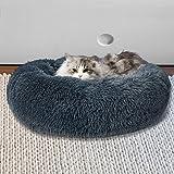Pet Bed Cat Dog Donut Nest Calming Kennel Cave Deep Sleeping Dark Grey L L-70cm in Dark Grey