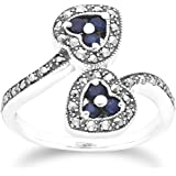 Sterling Silver Marcasite Ring and Six Blue Sapphire Round 1.9 mm Promise Eternity Ring Size 6 And 6.5 Contemporary Art Deco