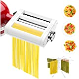 ANTREE 3 in 1 Pasta Roller And Pasta Cutter Attachment For KitchenAid Stand Mixers Included Cleaning Brush And Pasta Drying R