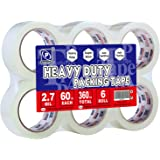"Perfectape Heavy Duty Packing Tape Clear, 1.88""x 60Y, 3 Inch Core, 6-Pack, Shipping Packaging Tape Refill Rolls"