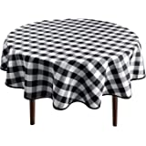 Hiasan Checkered Round Tablecloth 60 Inch - Waterproof Stain and Wrinkle Resistant Washable Fabric Table Cloth for Dining Roo