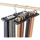 DIOMMELL 2 PCS Belts Rack, Storage Organizer, Hanger, Holder - Closet tie Racks Hangers Sturdy for Men Women, Black