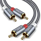 JSAUX RCA Stereo Cable, [6.6ft, Dual Shielded Gold-Plated] 2RCA Male to 2RCA Male Stereo Audio Cable Compatible Home Theater,
