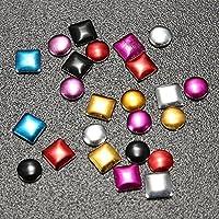 (Silver/Round) - ISALI 1000Pcs Punk Metallic Nail Art Decoration Studs Multicolor - (Colour: Silver, Shape: Round)