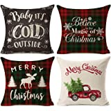 Kithomer Set of 4 Christmas Decorations Pillow Covers Christmas Buffalo Plaid Farmhouse Decor Throw Pillow Cases Cushion Cove