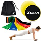 Resistance Exercise Loop Bands and Core Sliders for Fitness Workout Physical Therapy Pilates Yoga Rehab Glute Leg Strength Pu