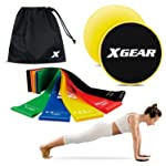 XGEAR Resistance Exercise Loop Bands and Core Sliders for Fitness Workout Physical Therapy Pilates Yoga Rehab Glute Leg...