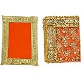 Orange Small Chunari/Chunar/Chunni Decorative Cloth + Pooja Mat/Aasan Set of 2 for Multipurpose Pooja Decorations Item & Arti